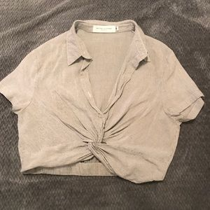 Nectar Clothing Button Up Crop Top